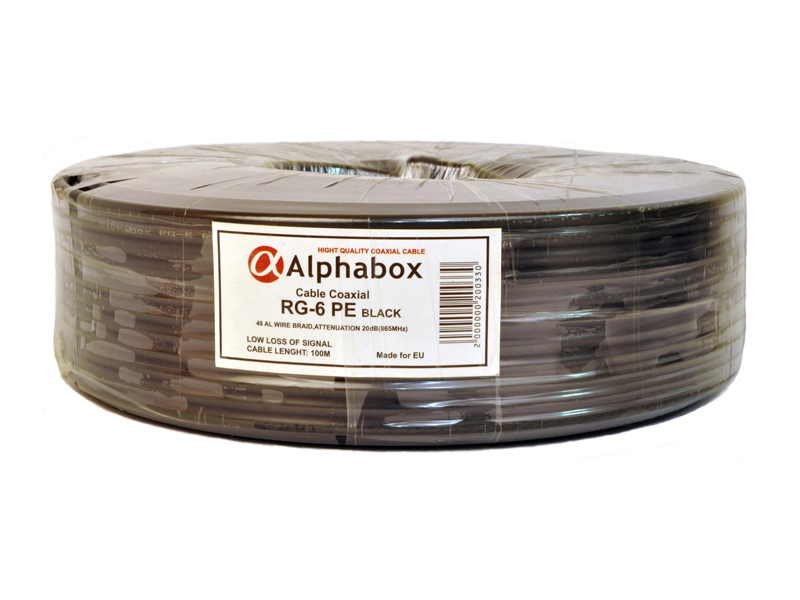 Кабель ALPHABOX RG6 100m PE Black